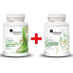 Green Coffee 3200 - 100 kapsułek + Detox Complex - 60 kapsułek Licaps. Aliness